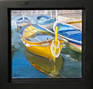 207 - Yellow boat - 12x12 - Landscape - $275