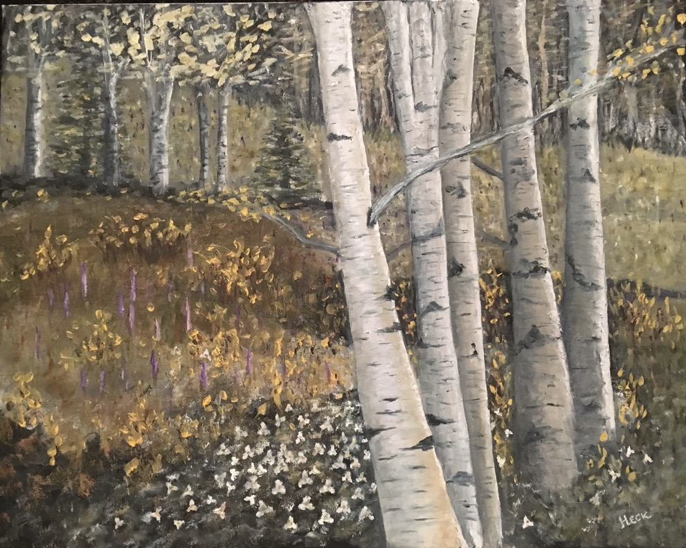 105 - Birch Splendor - 16 x 20 - Landscape - $100