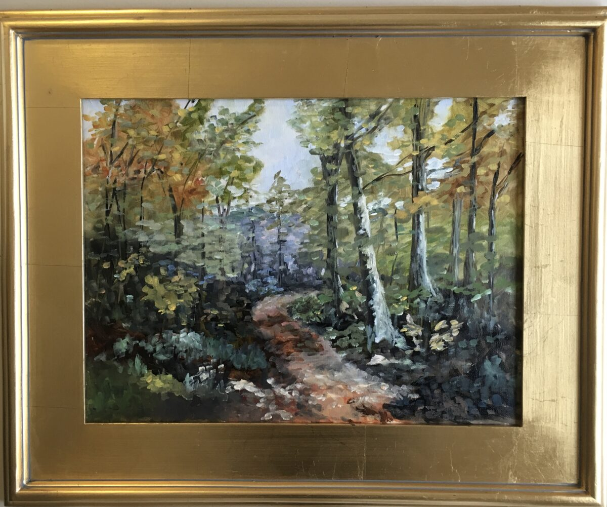 110 - Wooded Autumn Path - 12 x 16 - Landscape - Not Available - $100