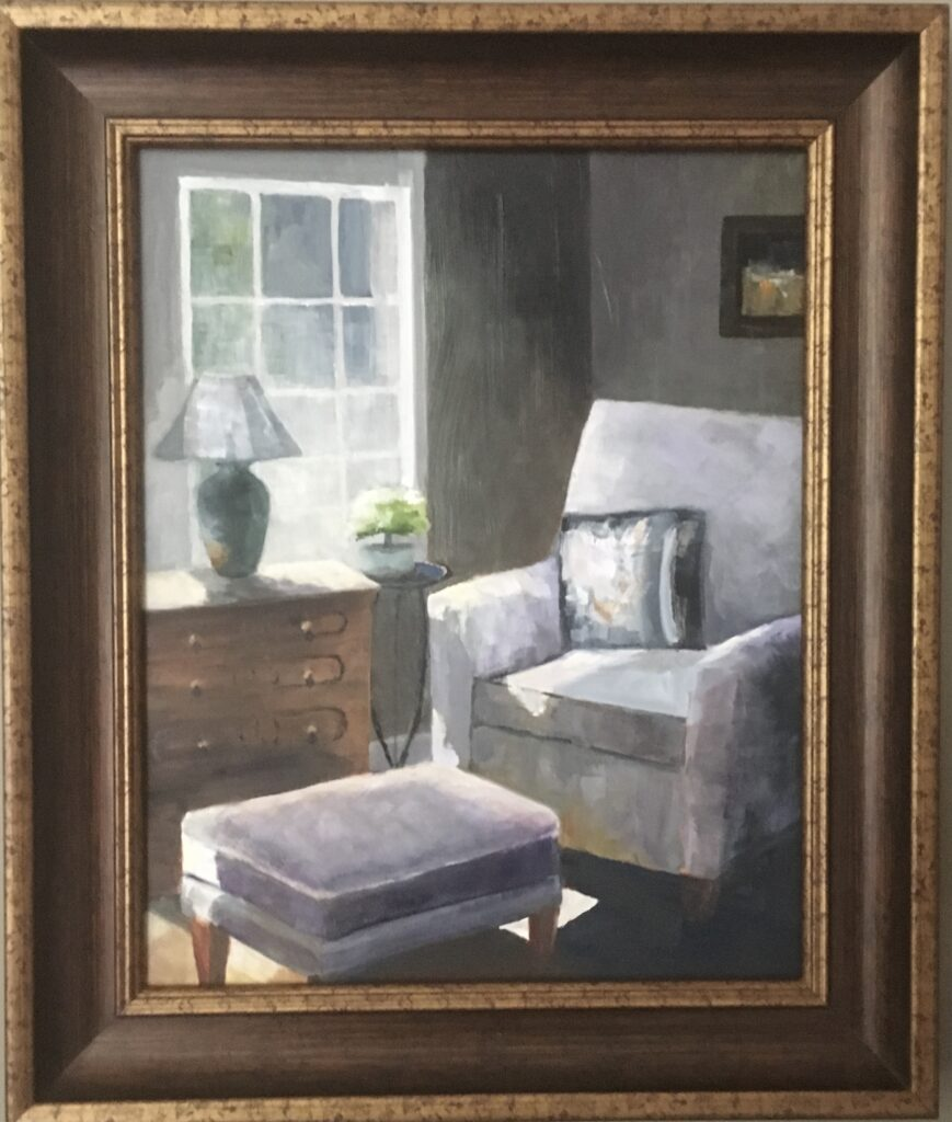 154 - The Reading Chair - 20 x 16 - Still Life - $525 - Not Available