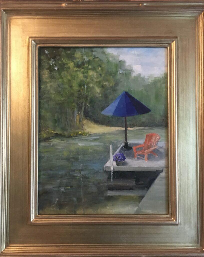 158 - Blue Umbrella - 14 x 11 - Landscape - $110