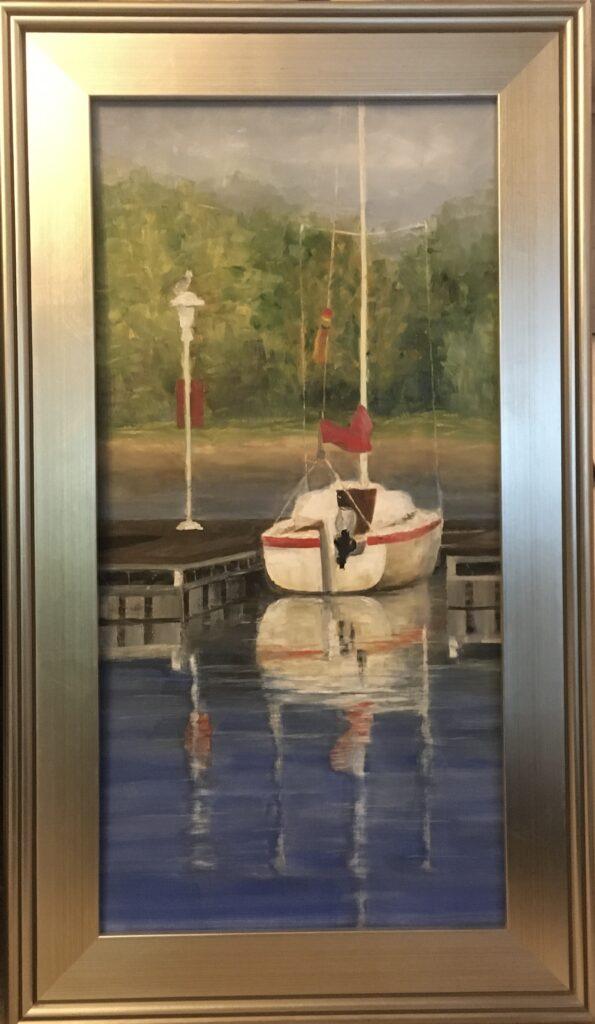 166 - Lake Monroe Slip - Red - 24 x 12 - Landscape - $450 - Not Available
