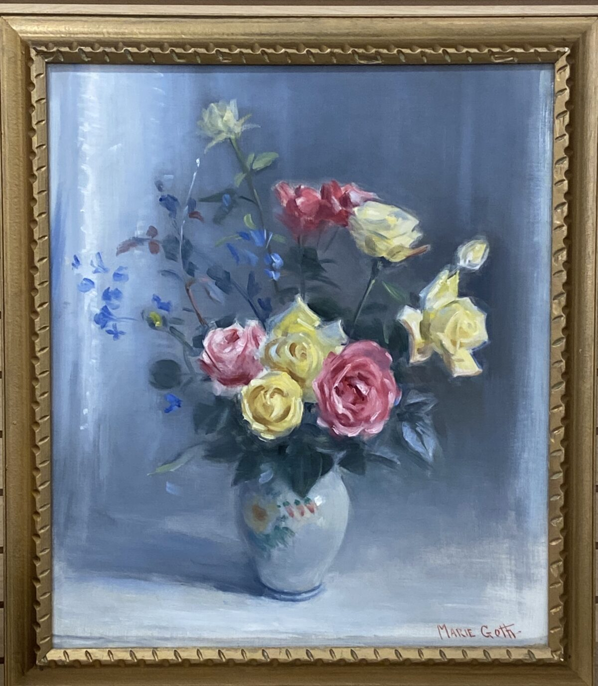 179 - Roses in Blue after Marie Goth - 11 x 14 - Still Life - $225