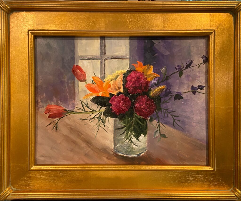180 - Flowers in a jar - 12 X 16 - Still Life - $250