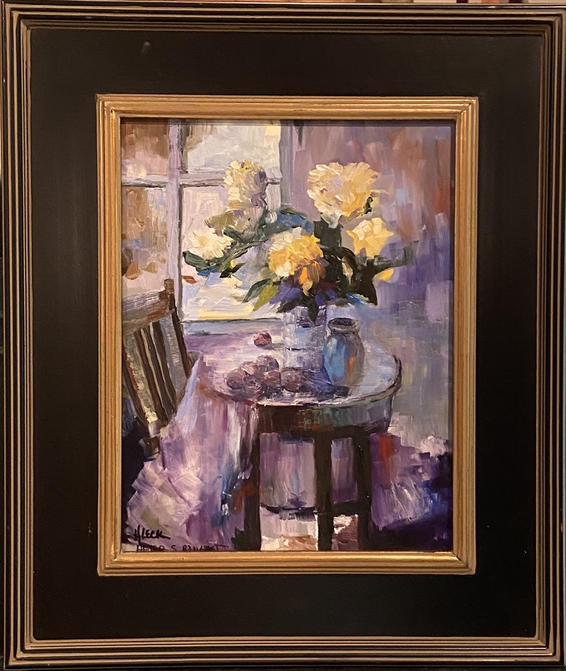 182 - Yellow Roses in Blue after S. Bongart - 11 x 14 - Still Life - $650