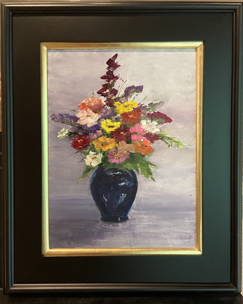 190 - Market Bouquet in Blue Vase -1 - 12 x 16 - Still Life - $300