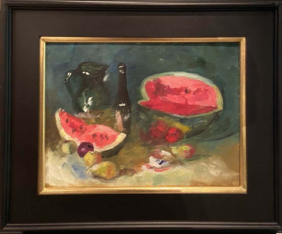 Watermelon Still Life after S. Bongart - 12 x 16 - Still Life - $500